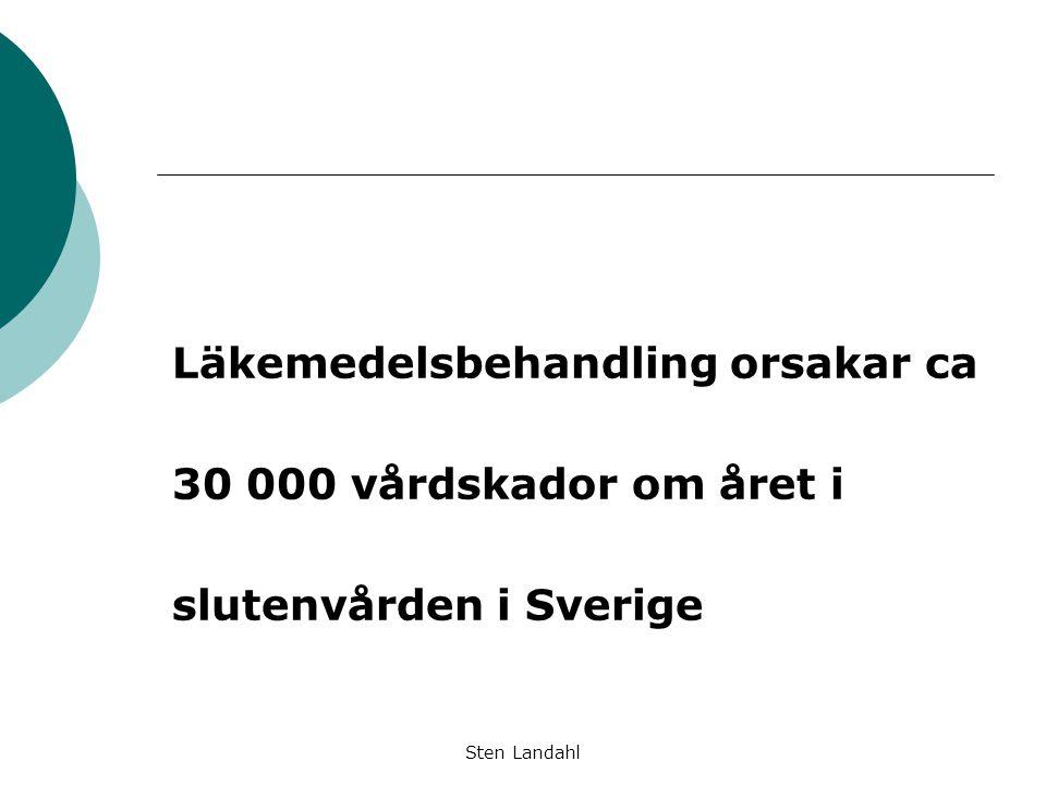 Sten Landahl Läkemedelsbehandling orsakar ca 30 000 vårdskador om året i slutenvården i Sverige