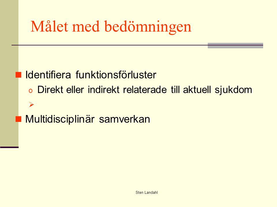 Sten Landahl Målet med bedömningen Identifiera funktionsförluster o Direkt eller indirekt relaterade till aktuell sjukdom  Multidisciplinär samverkan
