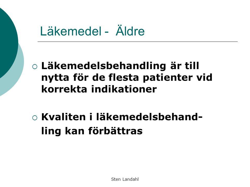 Sten Landahl Läkemedel - Äldre  Läkemedelsbehandling är till nytta för de flesta patienter vid korrekta indikationer  Kvaliten i läkemedelsbehand- l