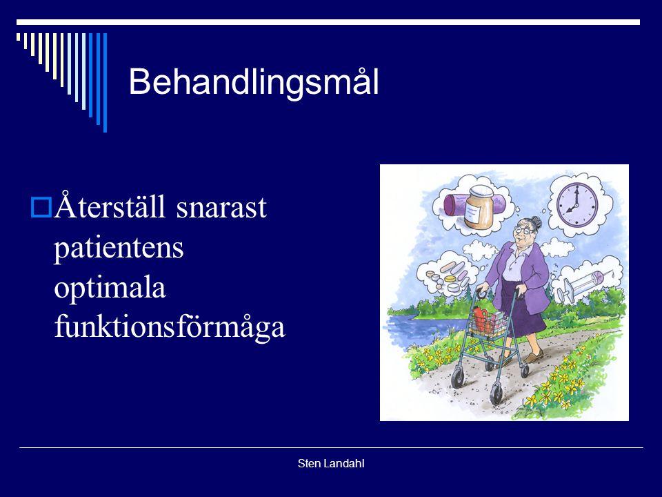 Sten Landahl Behandlingsmål  Återställ snarast patientens optimala funktionsförmåga