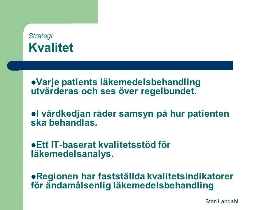 Sten Landahl Strategi Kvalitet Varje patients läkemedelsbehandling utvärderas och ses över regelbundet. I vårdkedjan råder samsyn på hur patienten ska