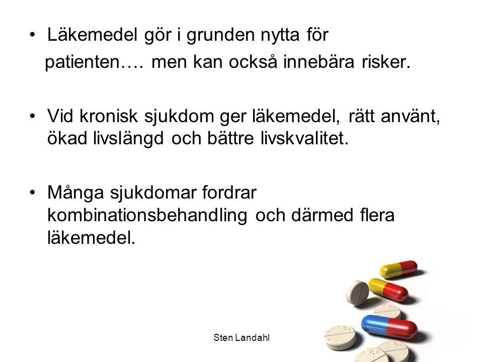 Sten Landahl Äldres läkemedelsbehandling Äldre patienter behandlas oftast med utgångspunkt från studier på personer <65 år Nästan aldrig studier på patienter över 80 år Samma behandlingsresultat som hos studiepopulationerna?