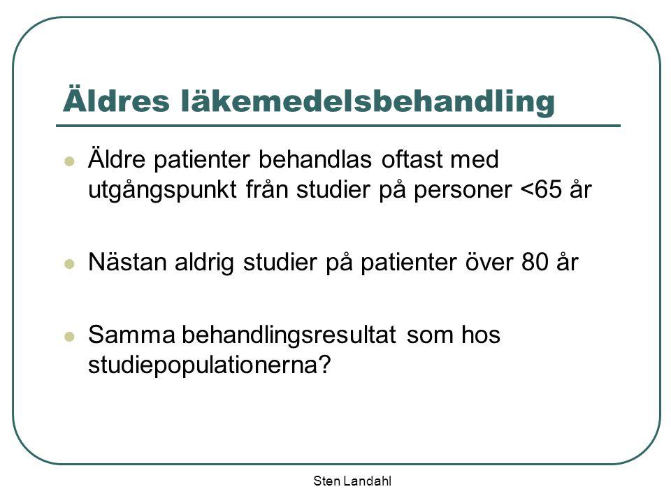 Sten Landahl Äldres läkemedelsbehandling Äldre patienter behandlas oftast med utgångspunkt från studier på personer <65 år Nästan aldrig studier på pa
