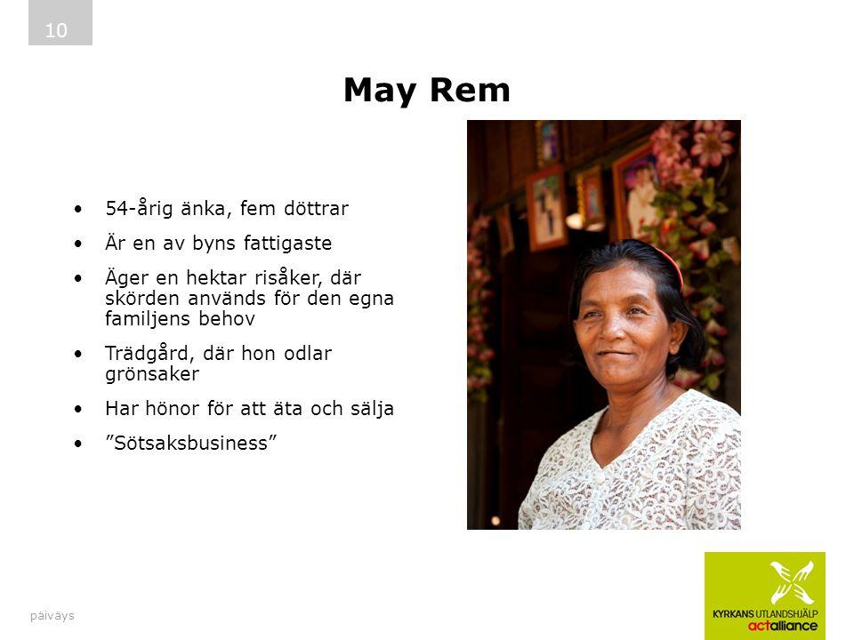 May Rem 54-årig änka, fem döttrar Är en av byns fattigaste Äger en hektar risåker, där skörden används för den egna familjens behov Trädgård, där hon odlar grönsaker Har hönor för att äta och sälja Sötsaksbusiness päiväys 10