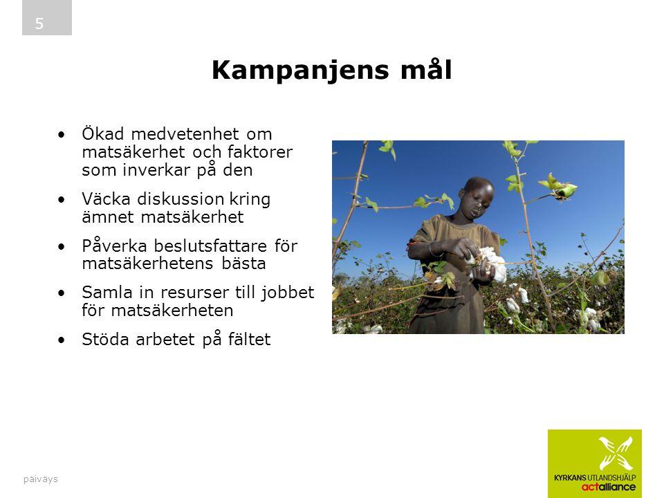 Kampanjens mål Ökad medvetenhet om matsäkerhet och faktorer som inverkar på den Väcka diskussion kring ämnet matsäkerhet Påverka beslutsfattare för ma