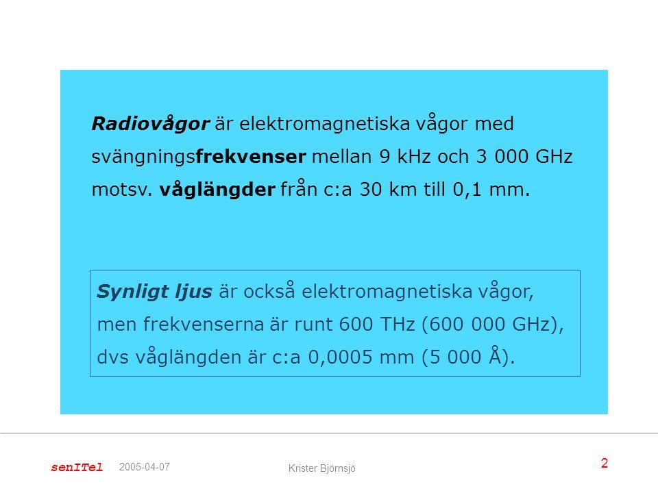 2 Krister Björnsjö 2005-04-07 Radiovågor är elektromagnetiska vågor med svängningsfrekvenser mellan 9 kHz och 3 000 GHz motsv. våglängder från c:a 30