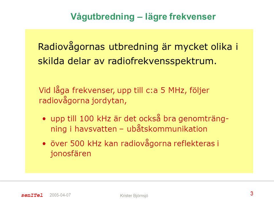 senITel 3 Krister Björnsjö 2005-04-07 Radiovågornas utbredning är mycket olika i skilda delar av radiofrekvensspektrum. Vågutbredning – lägre frekvens