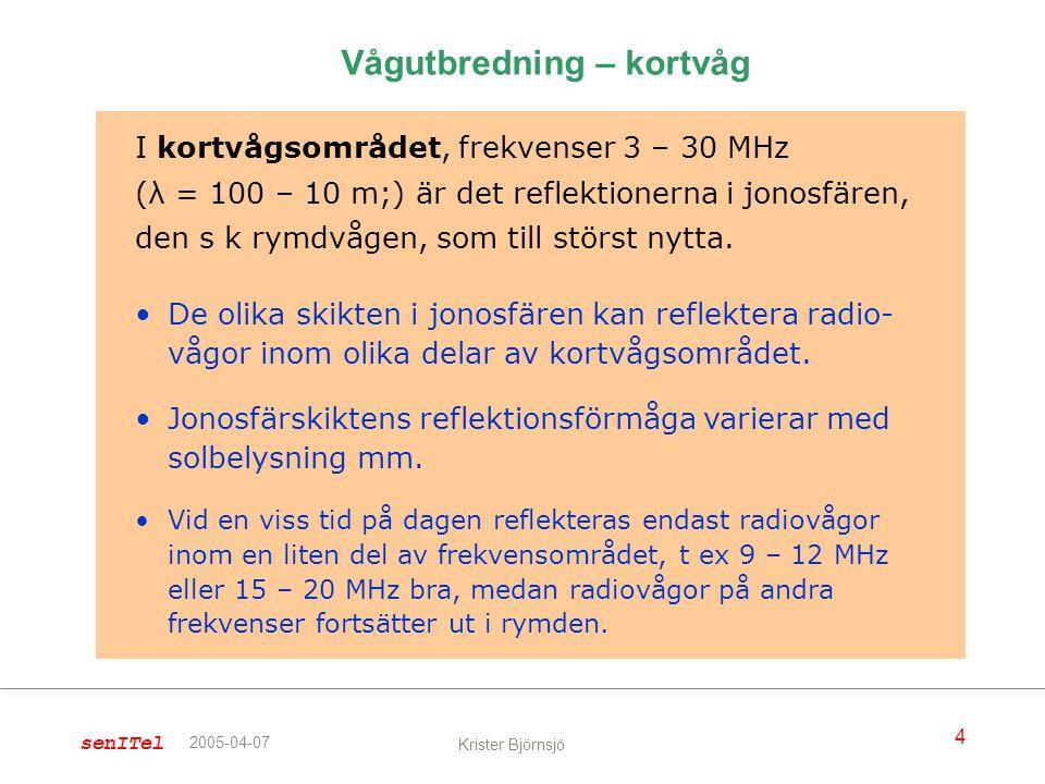 senITel 4 Krister Björnsjö 2005-04-07 I kortvågsområdet, frekvenser 3 – 30 MHz (λ = 100 – 10 m;) är det reflektionerna i jonosfären, den s k rymdvågen