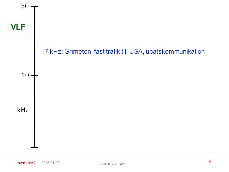 senITel 6 Krister Björnsjö 2005-04-07 kHz 30 10 VLF 17 kHz: Grimeton, fast trafik till USA, ubåtskommunikation