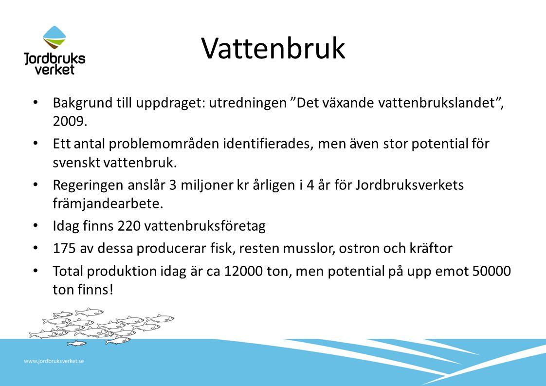 Vattenbruk Koordinera vattenbruksnäringen Gemensam myndighetsingång Smittskydds- och djurskyddsarbete Stöd och marknad Centralt vattenbruksregister Vattenbrukskansli www.svensktvattenbruk.se Regeringsuppdrag Östersjöstrategin Nationell strategi 2014