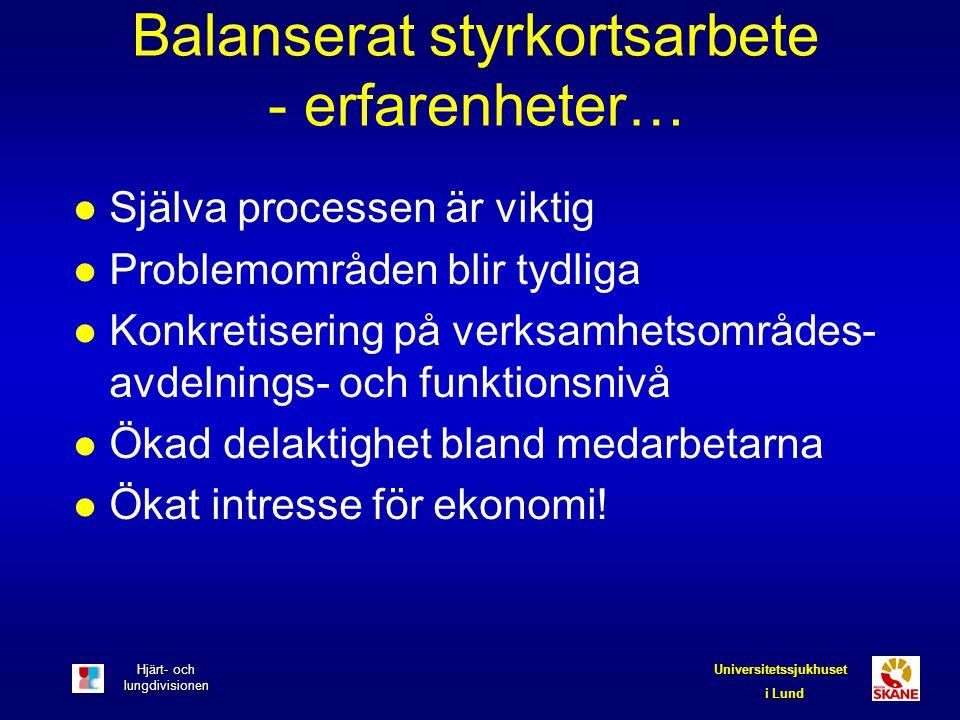 Hjärt- och lungdivisionen Universitetssjukhuset i Lund Balanserat styrkortsarbete - erfarenheter… l Själva processen är viktig l Problemområden blir t