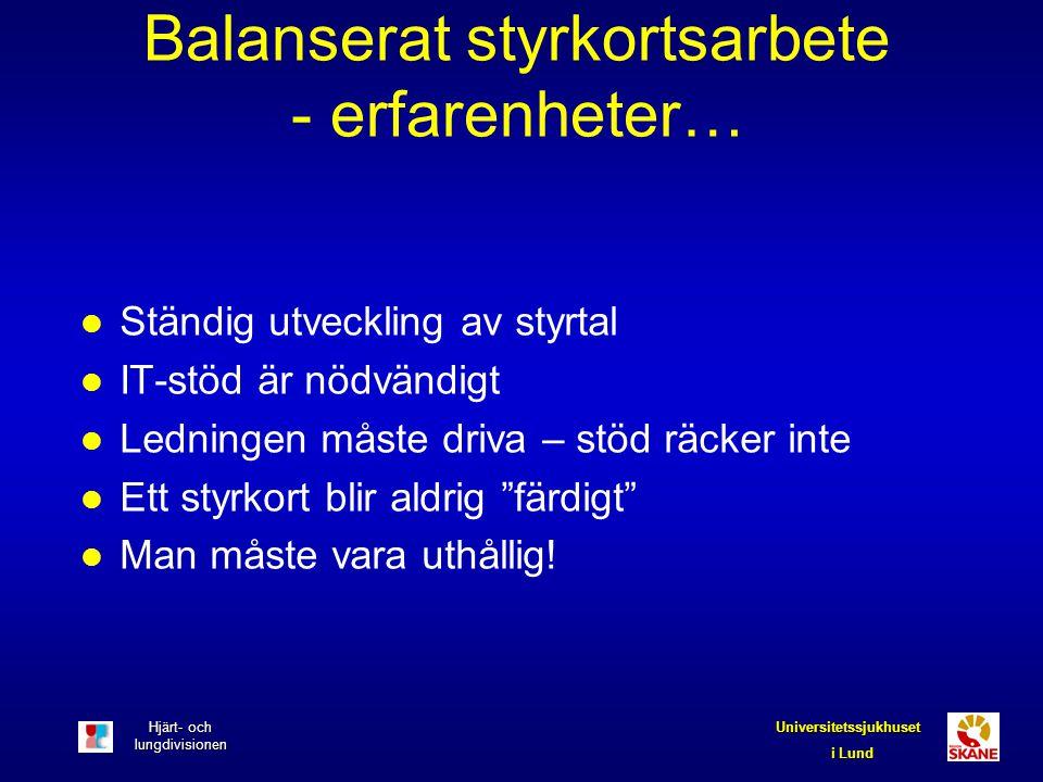 Hjärt- och lungdivisionen Universitetssjukhuset i Lund Balanserat styrkortsarbete - erfarenheter… l Ständig utveckling av styrtal l IT-stöd är nödvänd