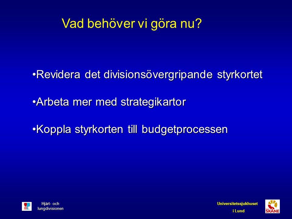 Hjärt- och lungdivisionen Universitetssjukhuset i Lund Vad behöver vi göra nu? Revidera det divisionsövergripande styrkortetRevidera det divisionsöver