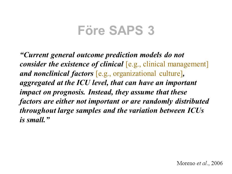 Flernivåmodell p ij = Pr{död för patient i på sjukhus j} Logit = ln[p ij /(1-p ij )] = β 0 + β 1 ×PRED1 ij + β 2 ×PRED2 ij + … + α j Sjukhusnivå Random effekt: α j ~ N(0,V) Patientnivå Fixa effekter av prognostiska variabler