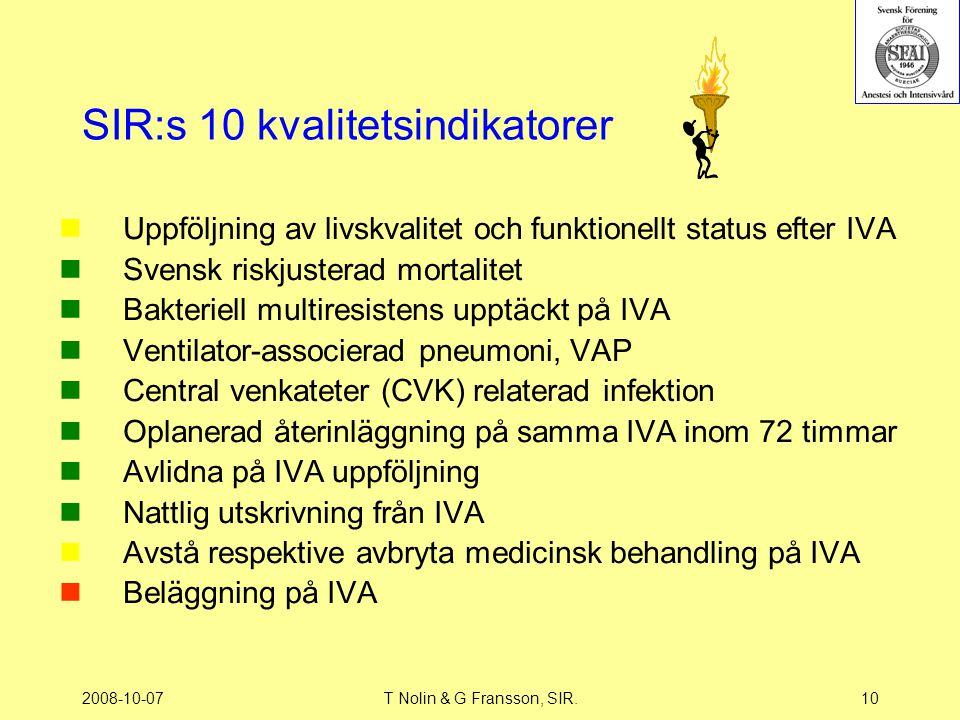 2008-10-07T Nolin & G Fransson, SIR.10 SIR:s 10 kvalitetsindikatorer Uppföljning av livskvalitet och funktionellt status efter IVA Svensk riskjusterad