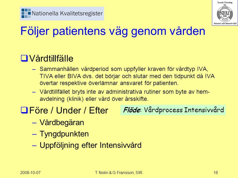 2008-10-07T Nolin & G Fransson, SIR.16 Följer patientens väg genom vården  Vårdtillfälle –Sammanhållen vårdperiod som uppfyller kraven för vårdtyp IV