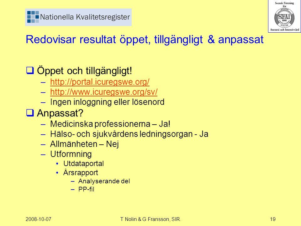 2008-10-07T Nolin & G Fransson, SIR.19 Redovisar resultat öppet, tillgängligt & anpassat  Öppet och tillgängligt! –http://portal.icuregswe.org/http:/
