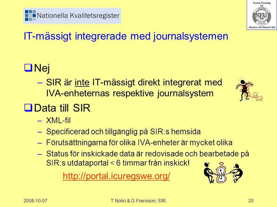 2008-10-07T Nolin & G Fransson, SIR.20 IT-mässigt integrerade med journalsystemen  Nej –SIR är inte IT-mässigt direkt integrerat med IVA-enheternas r