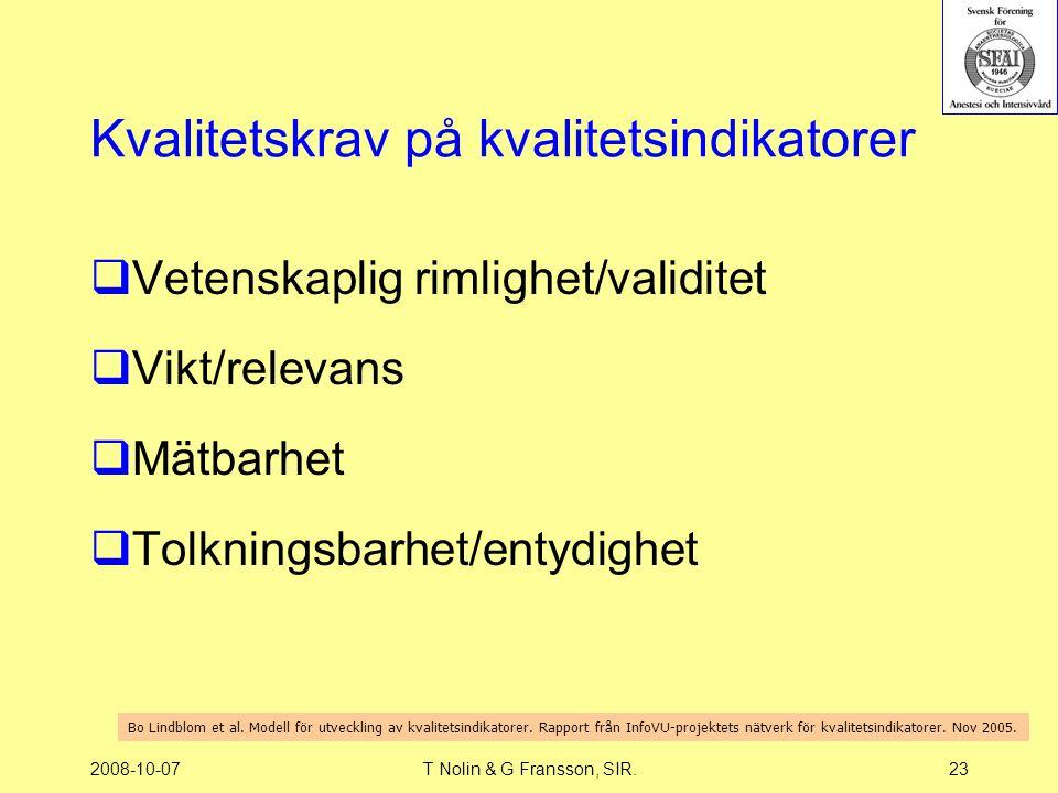 2008-10-07T Nolin & G Fransson, SIR.23 Kvalitetskrav på kvalitetsindikatorer  Vetenskaplig rimlighet/validitet  Vikt/relevans  Mätbarhet  Tolkning