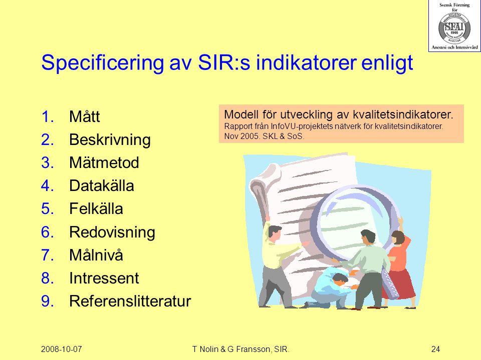 2008-10-07T Nolin & G Fransson, SIR.24 Specificering av SIR:s indikatorer enligt 1.Mått 2.Beskrivning 3.Mätmetod 4.Datakälla 5.Felkälla 6.Redovisning