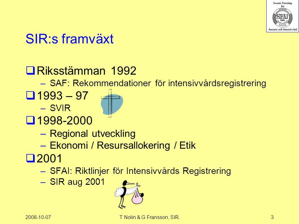 2008-10-07T Nolin & G Fransson, SIR.3 SIR:s framväxt  Riksstämman 1992 –SAF: Rekommendationer för intensivvårdsregistrering  1993 – 97 –SVIR  1998-