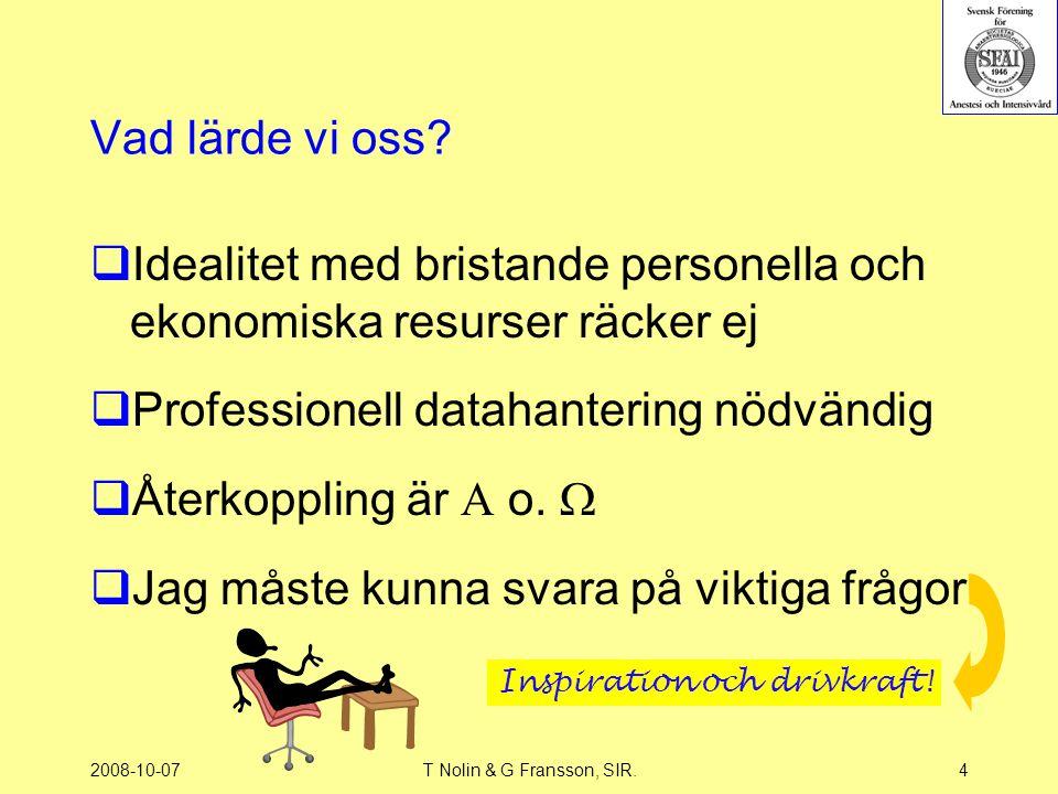 2008-10-07T Nolin & G Fransson, SIR.4 Vad lärde vi oss?  Idealitet med bristande personella och ekonomiska resurser räcker ej  Professionell datahan