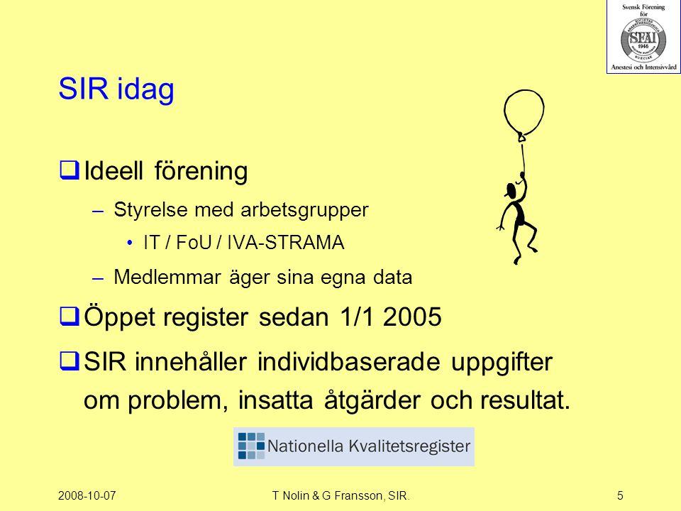 2008-10-07T Nolin & G Fransson, SIR.5 SIR idag  Ideell förening –Styrelse med arbetsgrupper IT / FoU / IVA-STRAMA –Medlemmar äger sina egna data  Öp