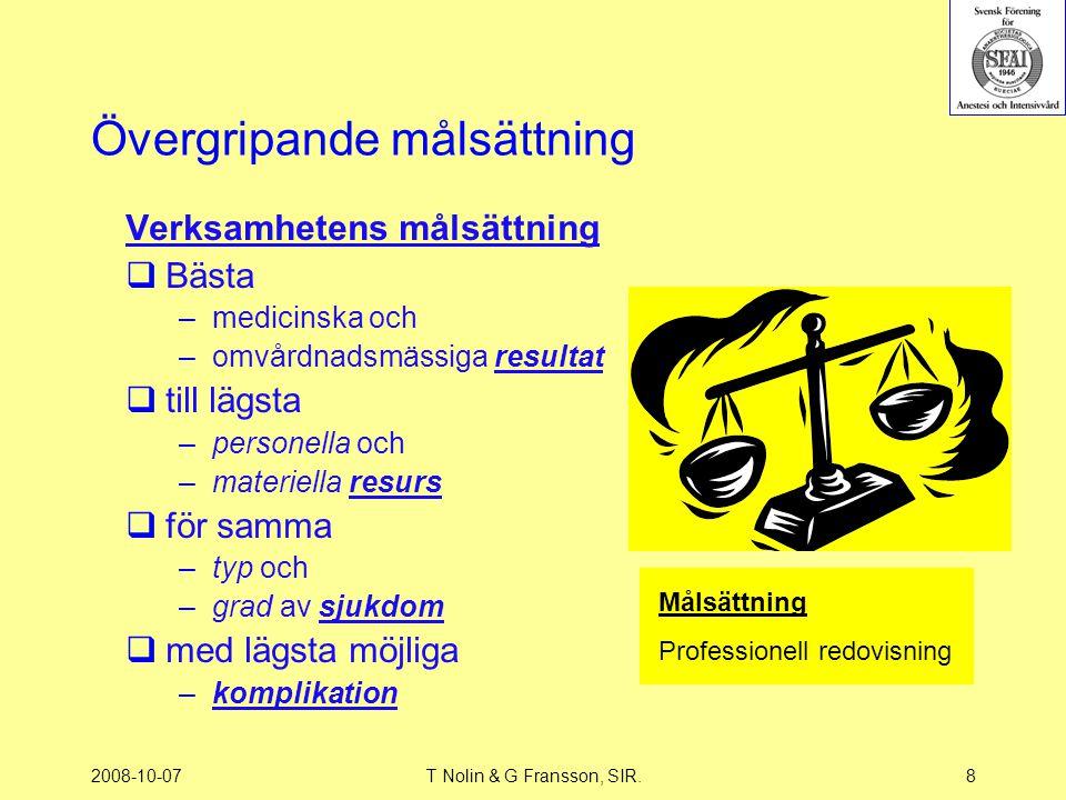 2008-10-07T Nolin & G Fransson, SIR.8 Övergripande målsättning Verksamhetens målsättning  Bästa –medicinska och –omvårdnadsmässiga resultat  till lä