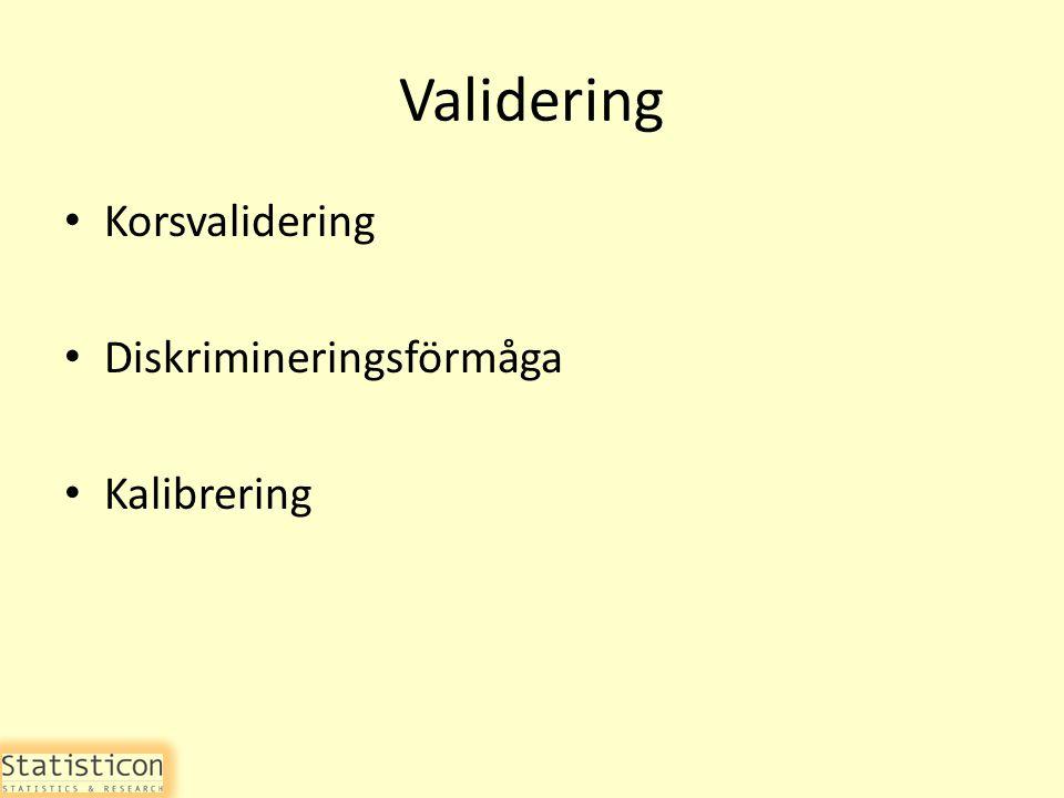 Validering Korsvalidering Diskrimineringsförmåga Kalibrering