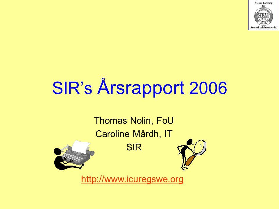 SIR's Årsrapport 2006 Thomas Nolin, FoU Caroline Mårdh, IT SIR http://www.icuregswe.org
