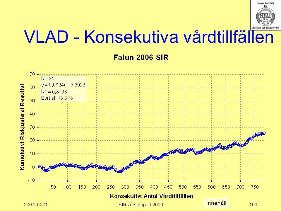 2007-10-01SIRs årsrapport 2006100 VLAD - Konsekutiva vårdtillfällen Innehåll