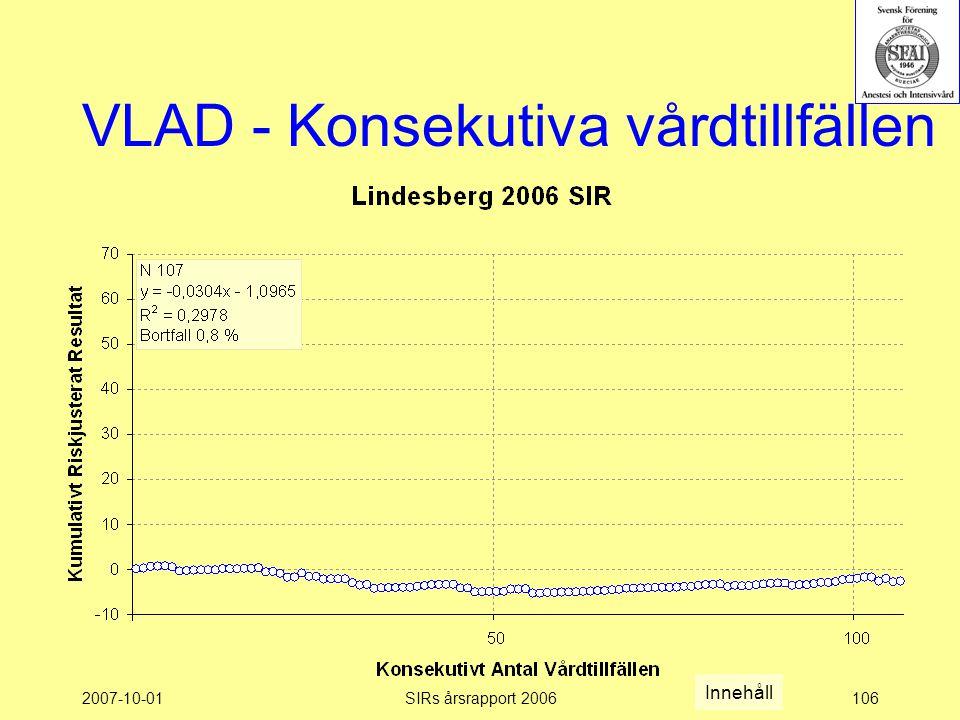 2007-10-01SIRs årsrapport 2006106 VLAD - Konsekutiva vårdtillfällen Innehåll