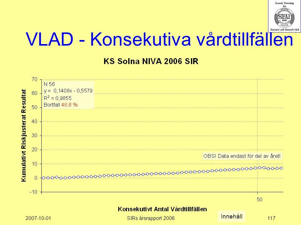 2007-10-01SIRs årsrapport 2006117 VLAD - Konsekutiva vårdtillfällen Innehåll