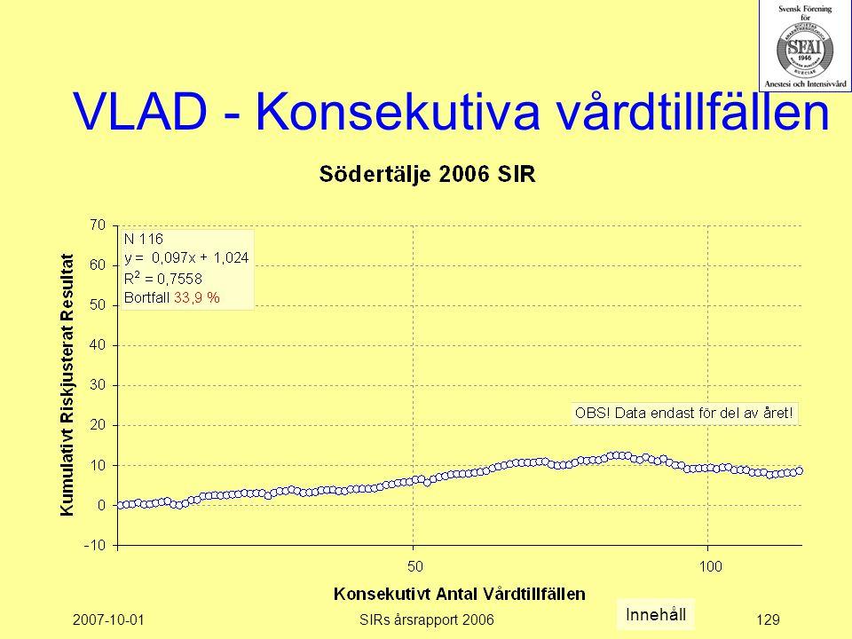 2007-10-01SIRs årsrapport 2006129 VLAD - Konsekutiva vårdtillfällen Innehåll