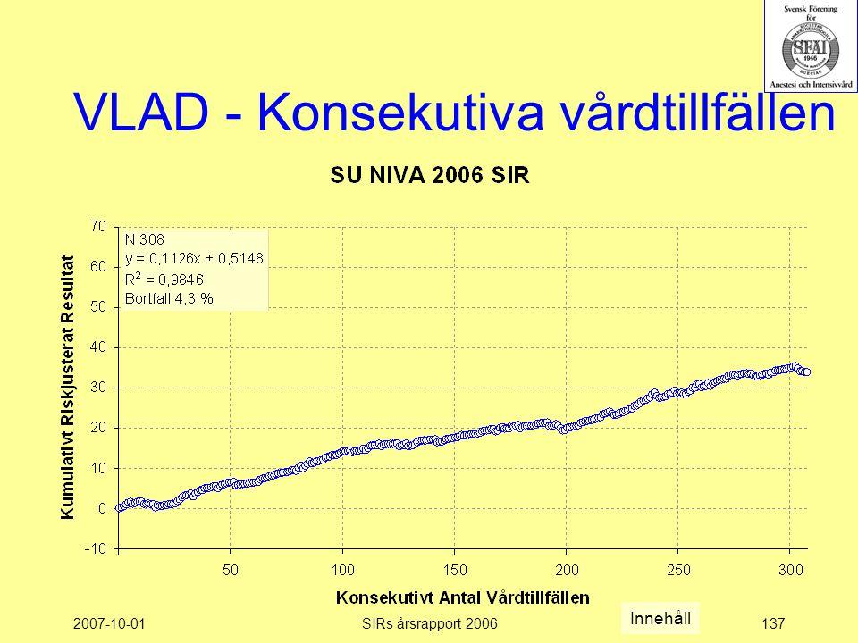 2007-10-01SIRs årsrapport 2006137 VLAD - Konsekutiva vårdtillfällen Innehåll