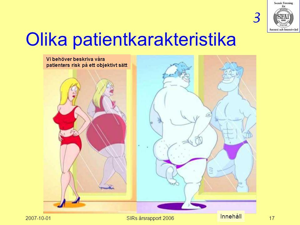 2007-10-01SIRs årsrapport 200617 Olika patientkarakteristika Vi behöver beskriva våra patienters risk på ett objektivt sätt 3 Innehåll