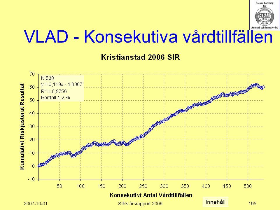 2007-10-01SIRs årsrapport 2006195 VLAD - Konsekutiva vårdtillfällen Innehåll