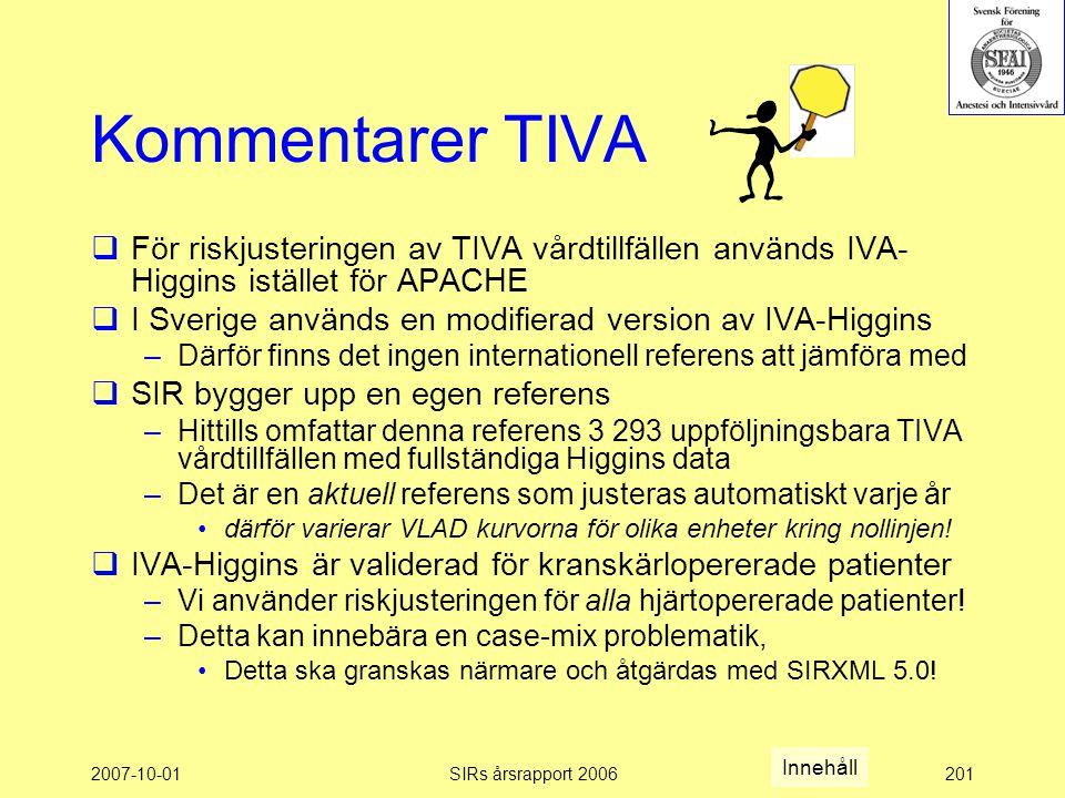 2007-10-01SIRs årsrapport 2006201 Kommentarer TIVA  För riskjusteringen av TIVA vårdtillfällen används IVA- Higgins istället för APACHE  I Sverige används en modifierad version av IVA-Higgins –Därför finns det ingen internationell referens att jämföra med  SIR bygger upp en egen referens –Hittills omfattar denna referens 3 293 uppföljningsbara TIVA vårdtillfällen med fullständiga Higgins data –Det är en aktuell referens som justeras automatiskt varje år därför varierar VLAD kurvorna för olika enheter kring nollinjen.