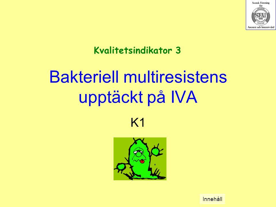 Bakteriell multiresistens upptäckt på IVA K1 Kvalitetsindikator 3 Innehåll