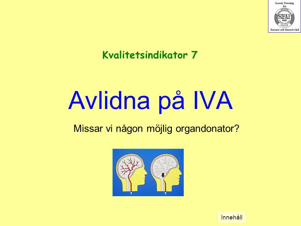Avlidna på IVA Missar vi någon möjlig organdonator? Kvalitetsindikator 7 Innehåll