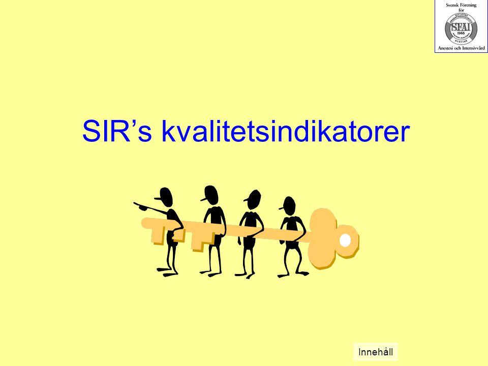 SIR's kvalitetsindikatorer Innehåll
