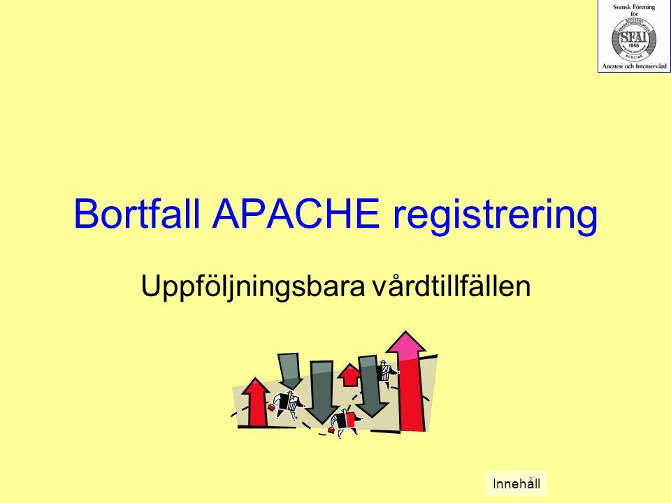 Bortfall APACHE registrering Uppföljningsbara vårdtillfällen Innehåll