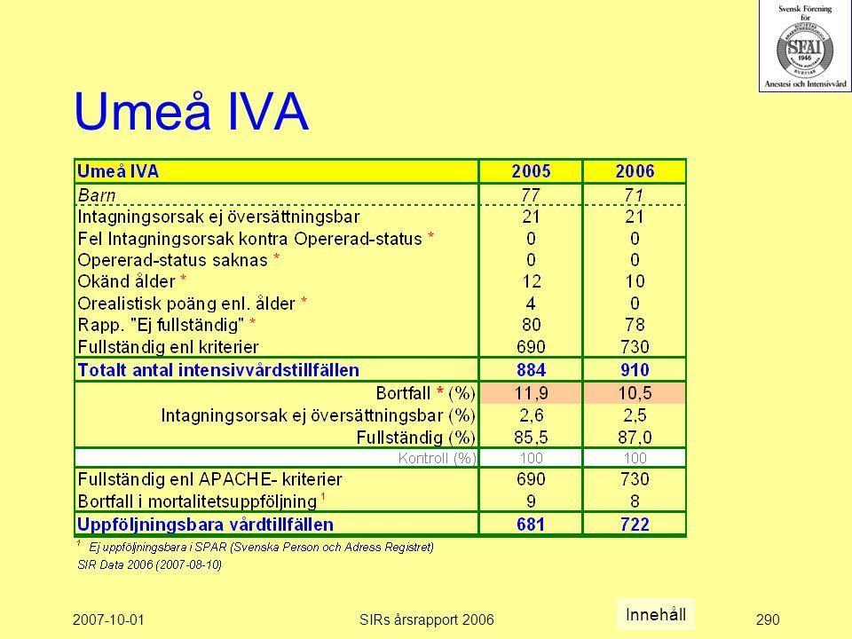2007-10-01SIRs årsrapport 2006290 Umeå IVA Innehåll