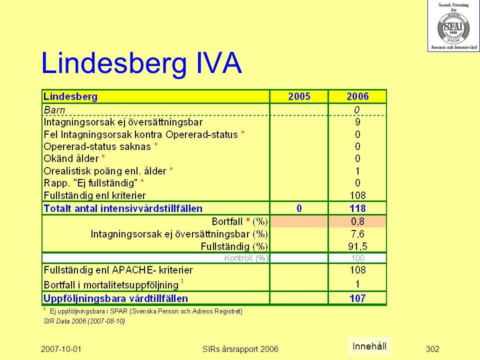 2007-10-01SIRs årsrapport 2006302 Lindesberg IVA Innehåll