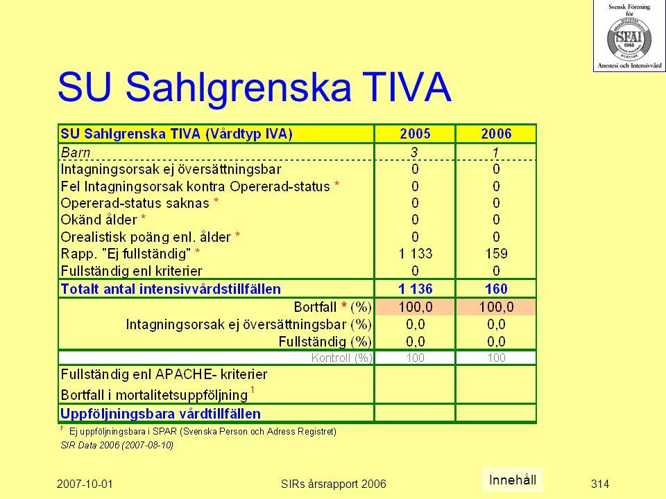 2007-10-01SIRs årsrapport 2006314 SU Sahlgrenska TIVA Innehåll