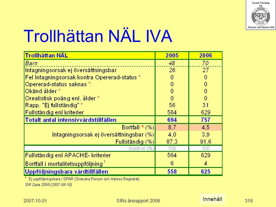 2007-10-01SIRs årsrapport 2006319 Trollhättan NÄL IVA Innehåll