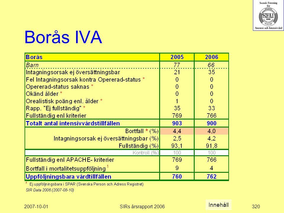 2007-10-01SIRs årsrapport 2006320 Borås IVA Innehåll
