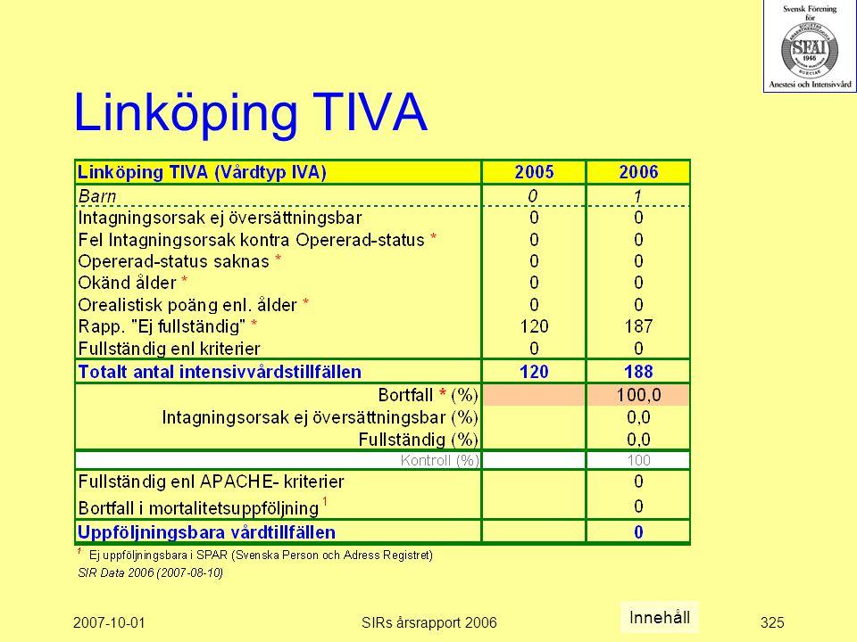 2007-10-01SIRs årsrapport 2006325 Linköping TIVA Innehåll