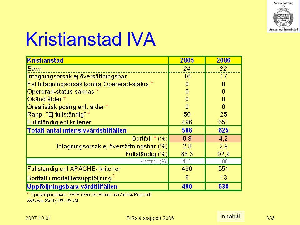 2007-10-01SIRs årsrapport 2006336 Kristianstad IVA Innehåll