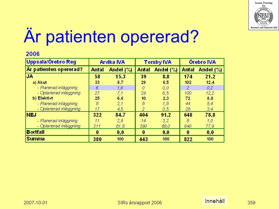 2007-10-01SIRs årsrapport 2006359 Är patienten opererad? 2006 Innehåll